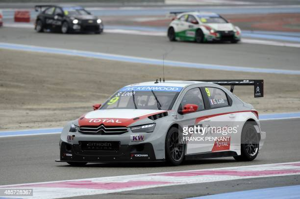 French driver Sebastien Loeb competes during the first race of the FIA World Touring Car Championship on April 20 2014 in Le Castellet southern...