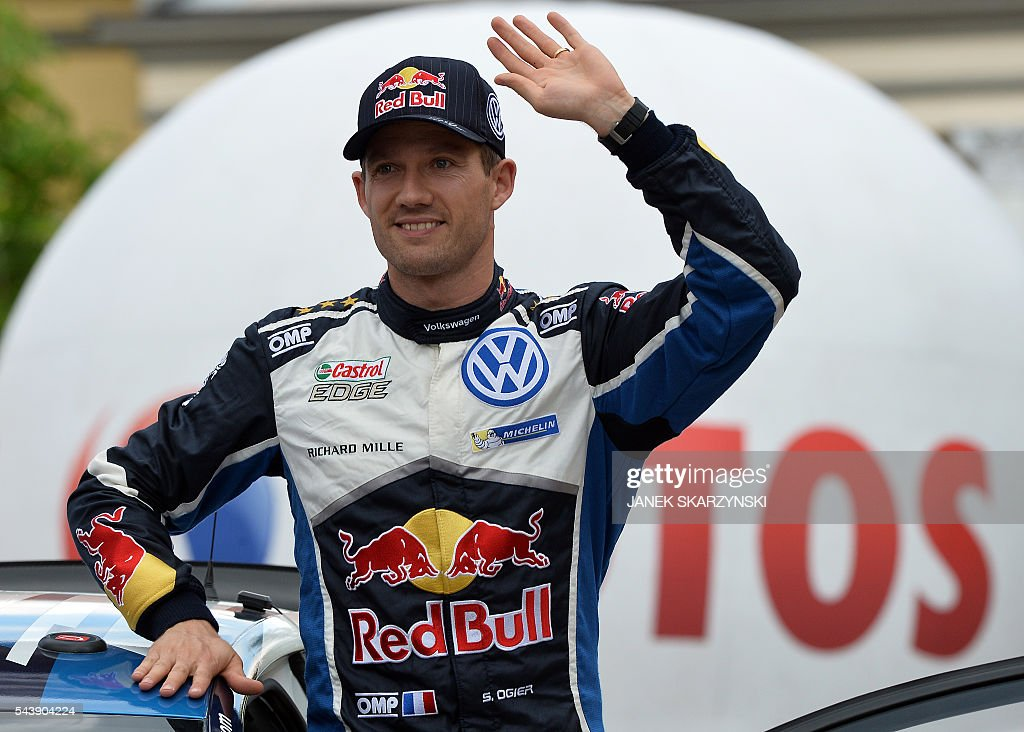 French driver Sebastien Ogier attends the official start of Rally of Poland on June 30, 2016 at the main square in Mikolajki, north of Poland. / AFP / JANEK
