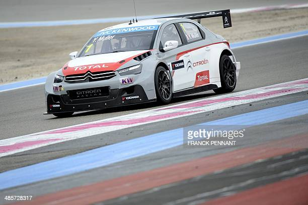 French driver Yvan Muller competes during the first race of the FIA World Touring Car Championship on April 20 2014 in Le Castellet southern France...