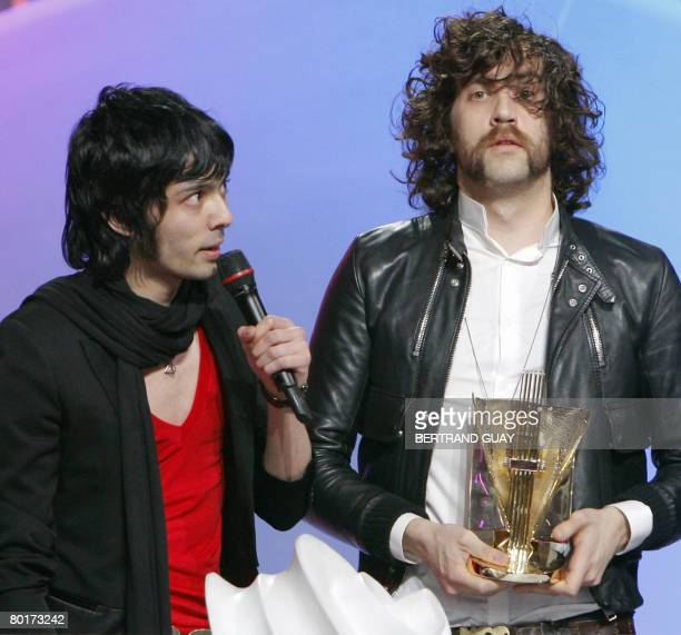 French duo Justice's members speak after receiving the best electronic band or artist of the year award during the 23rd Victoires de la Musique...