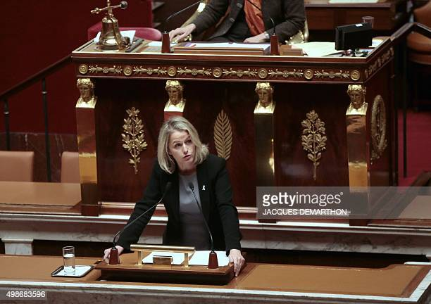 French Ecologist member of Parliament Barbara Pompili speaks during a debate ahead of a parliamentary vote on whether to continue airstrikes in Syria...