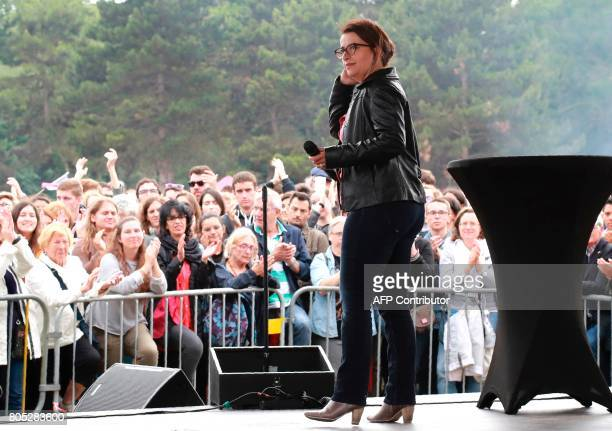French ecologist Member of Parliament Cecile Duflot delivers a speech during a rally for the launch of the movement 'mouvement du 1er juillet' led by...