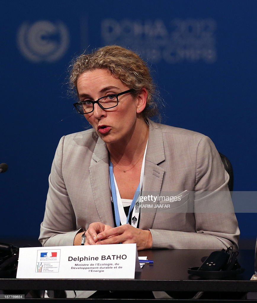 French Ecology Minister Delphine Batho addresses delegates during the penultimate day of the United Nations Framework Convention on Climate Change (UNFCCC) in the Qatari capital Doha, on December 6, 2012. Negotiators from nearly 200 countries entered the penultimate day of UN climate talks in Doha divided on near-term finance for poor nations' global warming mitigation plans.