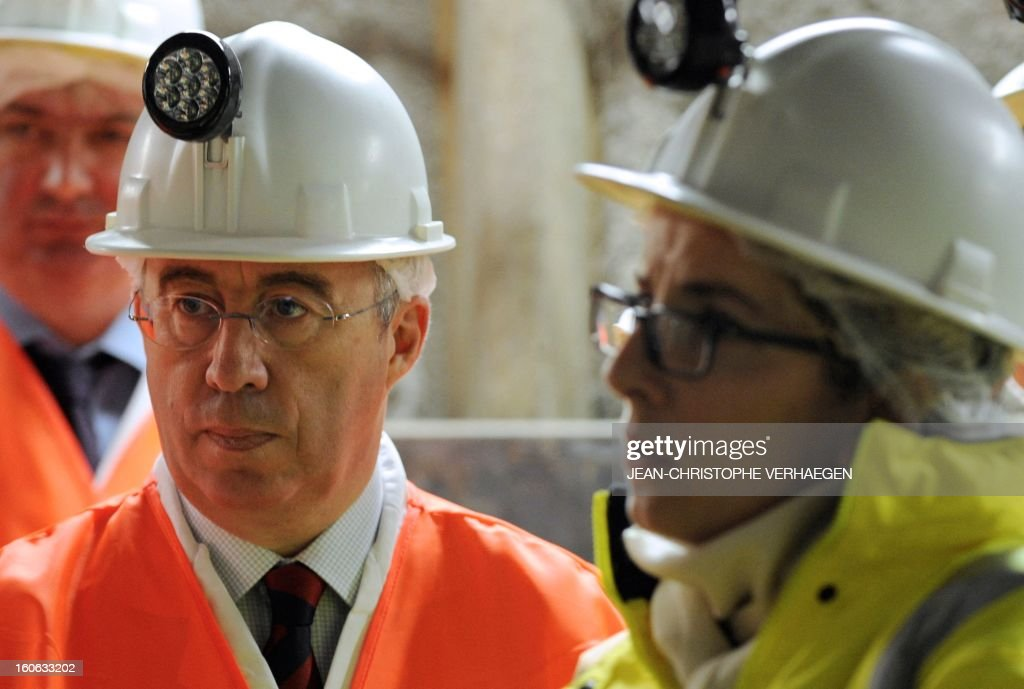 French Ecology Minister Delphine Batho (R) and Areva CEO Luc Oursel visit the underground Laboratory operated by the French National Radioactive Waste Management Agency (Andra), on February 4, 2013 in Bure, eastern France. AFP PHOTO / JEAN-CHRISTOPHE VERHAEGEN