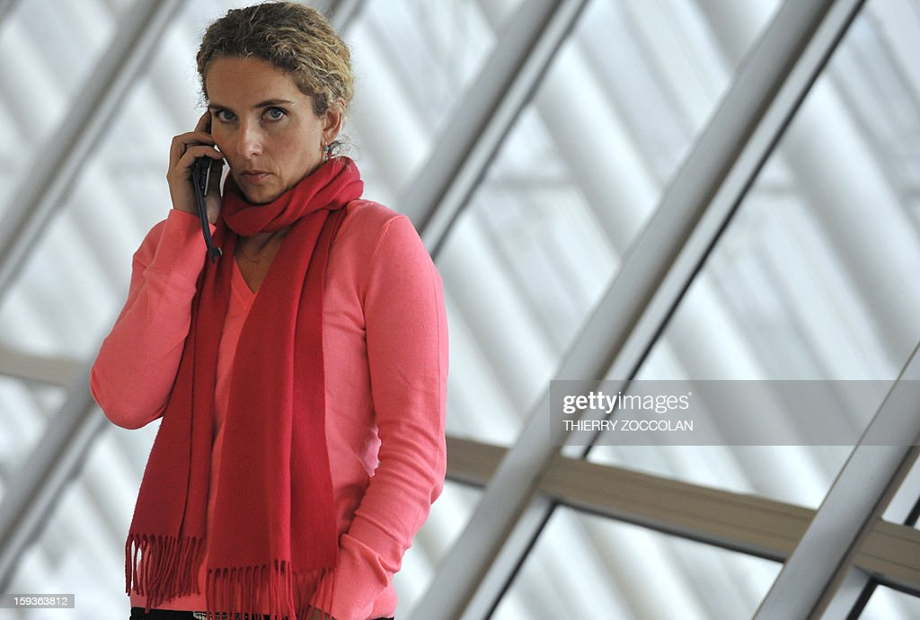French Ecology Minister, Delphine Batho, gives a call at the airport in Aulnat, on January 11, 2013.