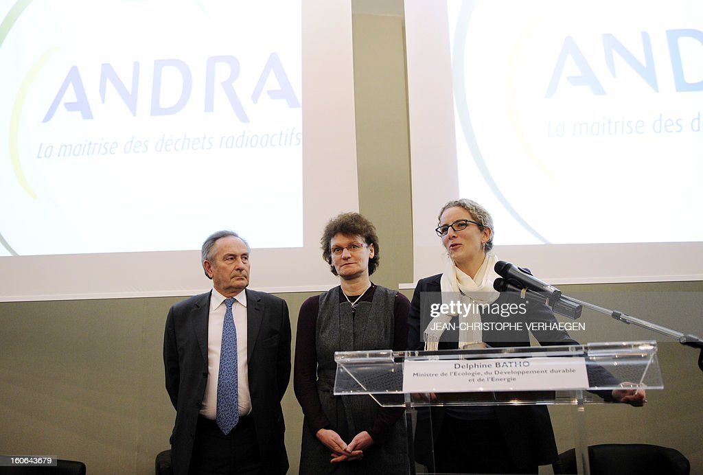 French Ecology Minister Delphine Batho (R) gives a press conference after a meeting at the Technological Centre of the French National Radioactive Waste Management Agency (Andra) next to Andra's chairman of the board François-Michel Gonnot (L) and Andra CEO Marie-Claude Dupuis (C), on February 4, 2013 in Saudron, eastern France.