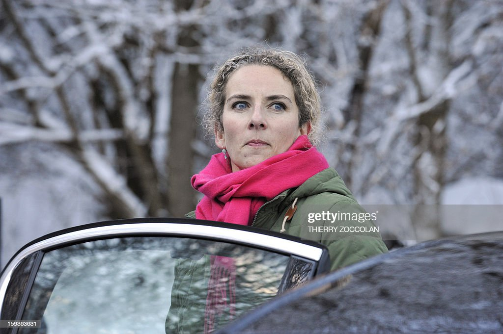 French Ecology Minister, Delphine Batho is about to leave after a visit of the Chaine des Puys, a volcanic chain in the French Massif Central, in Orcines, on January 11, 2013. The Chaine des Puys will be registered on the list of UNESCO's World Heritage sites.