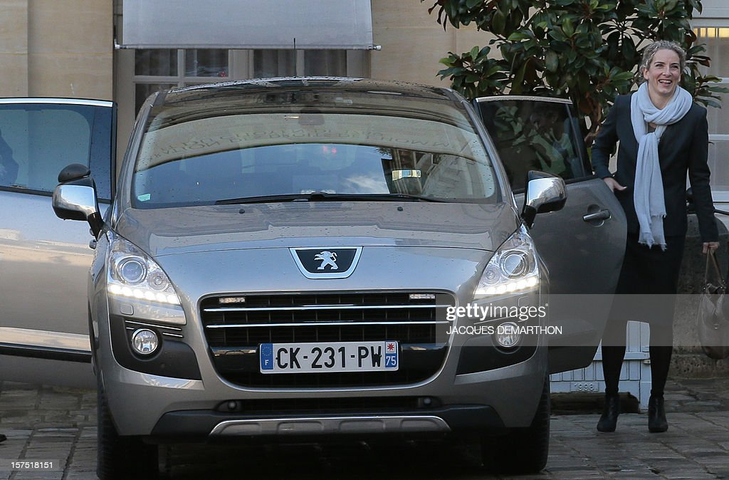 French Ecology Minister Delphine Batho leaves after giving a press conference outside the Prime Minister's official residence Hotel Matignon, in Paris, on December 4, 2012, at the end of a goverment seminar focused on ecological transition.