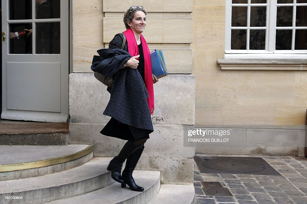 French Ecology minister Delphine Batho leaves following a lunch with French Prime Minister and French government's ministers focused on budget on February 20, 2013 at the Hotel Matignon, the Prime Minister official residence, in Paris.