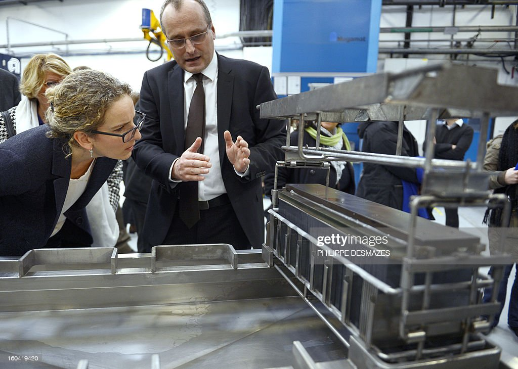 French Ecology Minister Delphine Batho visits French solar panel maker PhotoWatt factory with its Chief Executive Officer (CEO) Vincent Bes (R) on January 31, 2013 in Bourgoin-Jallieu, near Lyon. AFP PHOTO / PHILIPPE DESMAZES