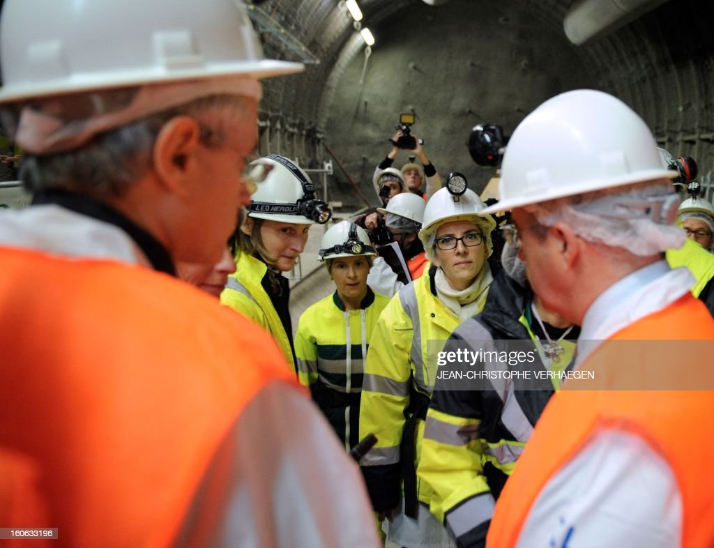 French Ecology Minister Delphine Batho (R) visits the underground Laboratory operated by the French National Radioactive Waste Management Agency (Andra), on February 4, 2013 in Bure, eastern France. VERHAEGEN