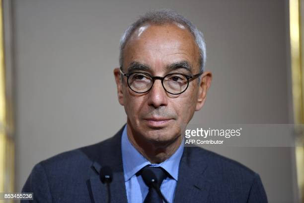 French economist Jean PisaniFerry looks on during a press conference following his report on France's Grand Investment Plan for 20182022 on September...