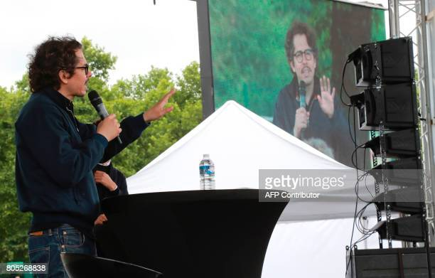 French economist Thomas Porcher delivers a speech during a rally for the launch of a movement led by French Socialist member Benoit Hamon in Reuilly...
