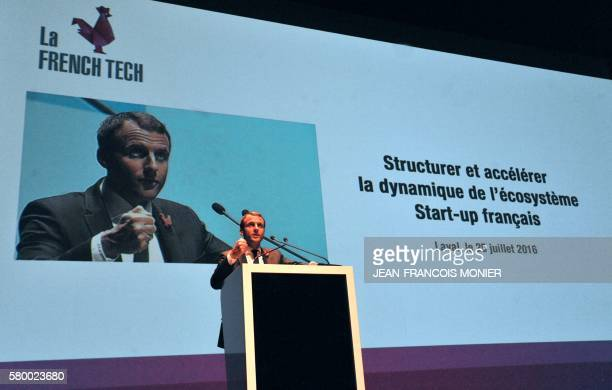 French Economy and Industry minister Emmanuel Macron delivers a speech on July 25 at the Theatre in Laval northwestern France The Economy Minister...