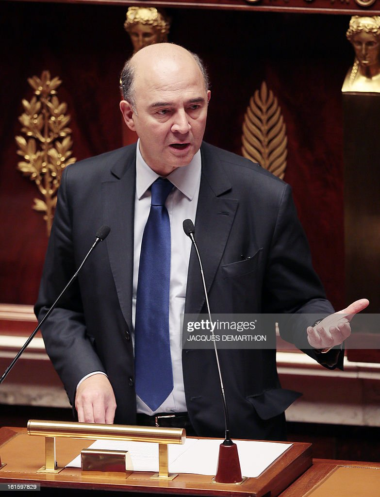 French Economy, Finance and Foreign Trade Minister, Pierre Moscovici speaks about the bill on separation and regulation of banking activities on February 12, 2013 at the French National Assembly in Paris.