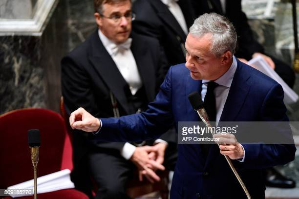 French Economy Minister Bruno Le Maire addresses deputies during a session of questions to the Government at the French National Assembly in Paris on...