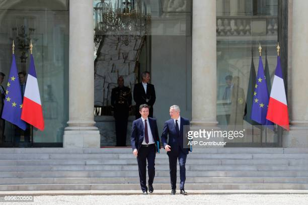 French Economy Minister Bruno Le Maire and French Junior Economy Minister Benjamin Griveaux leave the Elysee Palace in Paris after the first cabinet...