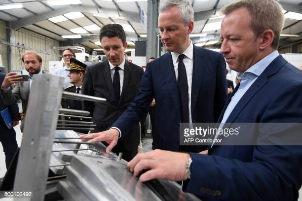 French Economy Minister Bruno Le Maire and French Junior Economy Minister Benjamin Griveaux visit the ERPO SPRINT manufacture specialised in additive...