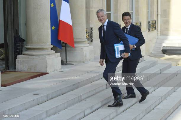 French Economy Minister Bruno Le Maire and French junior Minister Benjamin Griveaux arrives at Elysee Palace for a cabinet meeting on August 28 2017...