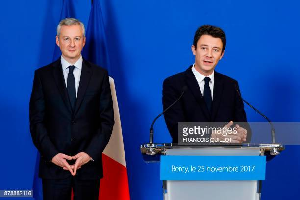 French Economy Minister Bruno Le Maire and outgoing French Junior Minister for Economy and newlyappointed government's spokesperson Benjamin Griveaux...