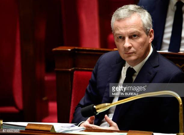 French Economy Minister Bruno Le Maire attends a session of questions to the government at the National Assembly in Paris on November 15 2017 / AFP...