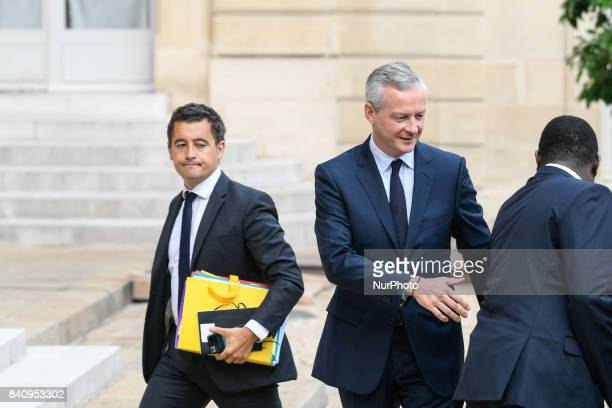 French Economy Minister Bruno Le Maire French Minister of Public Action and Accounts Gerald Darmanin arrive for a cabinet meeting at the Elysee...