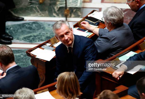 French Economy Minister Bruno Le Maire looks on as he attends a session of questions to the government at the French National Assembly in Paris on...
