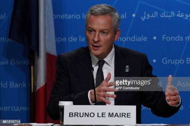 French Economy minister Bruno Le Maire speaks during a press conference at the World Bank and International Monetary Fund annual meeting in...