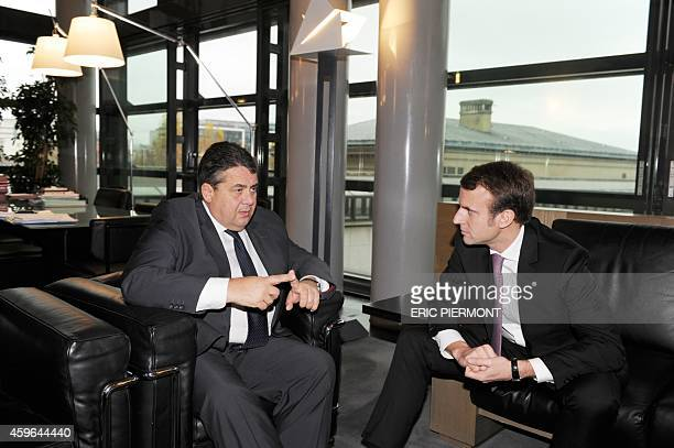 French Economy Minister Emmanuel Macron and German ViceChancellor and Economy and Energy Minister Sigmar Gabriel hold a bilateral meeting before...
