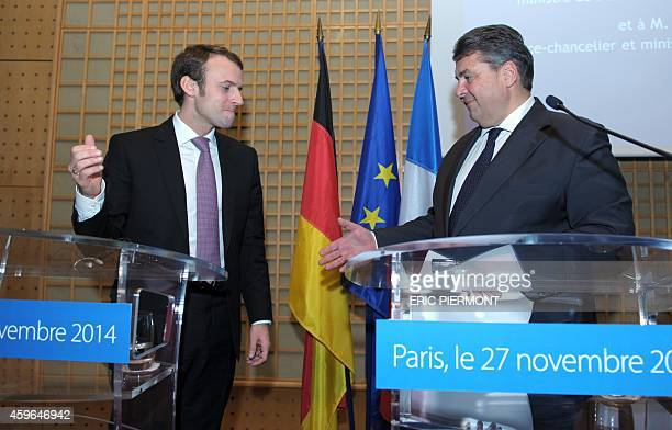 French Economy Minister Emmanuel Macron and German ViceChancellor and Economy and Energy Minister Sigmar Gabriel attend a press conference after...
