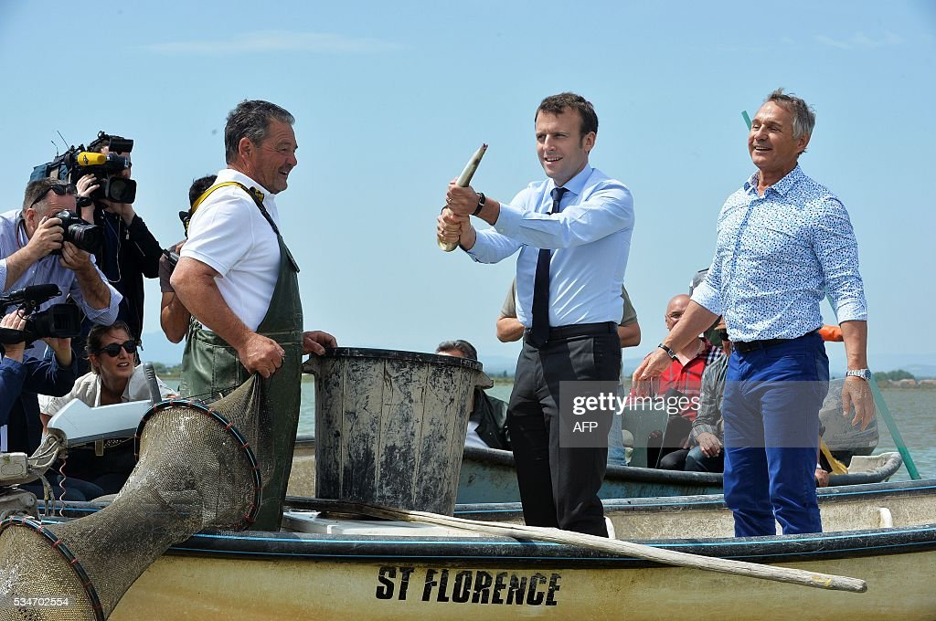 French Economy Minister Emmanuel Macron (C) and Herault MP Patrick Vignal (R) pose with caught eels on the lake of 'Etang de l'Or' on May 27, 2016. / AFP / SYLVAIN