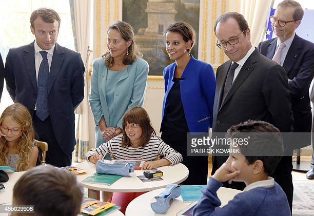 French Economy minister Emmanuel Macron Minister for Ecology Sustainable Development and Energy Segolene Royal Education minister Najat...