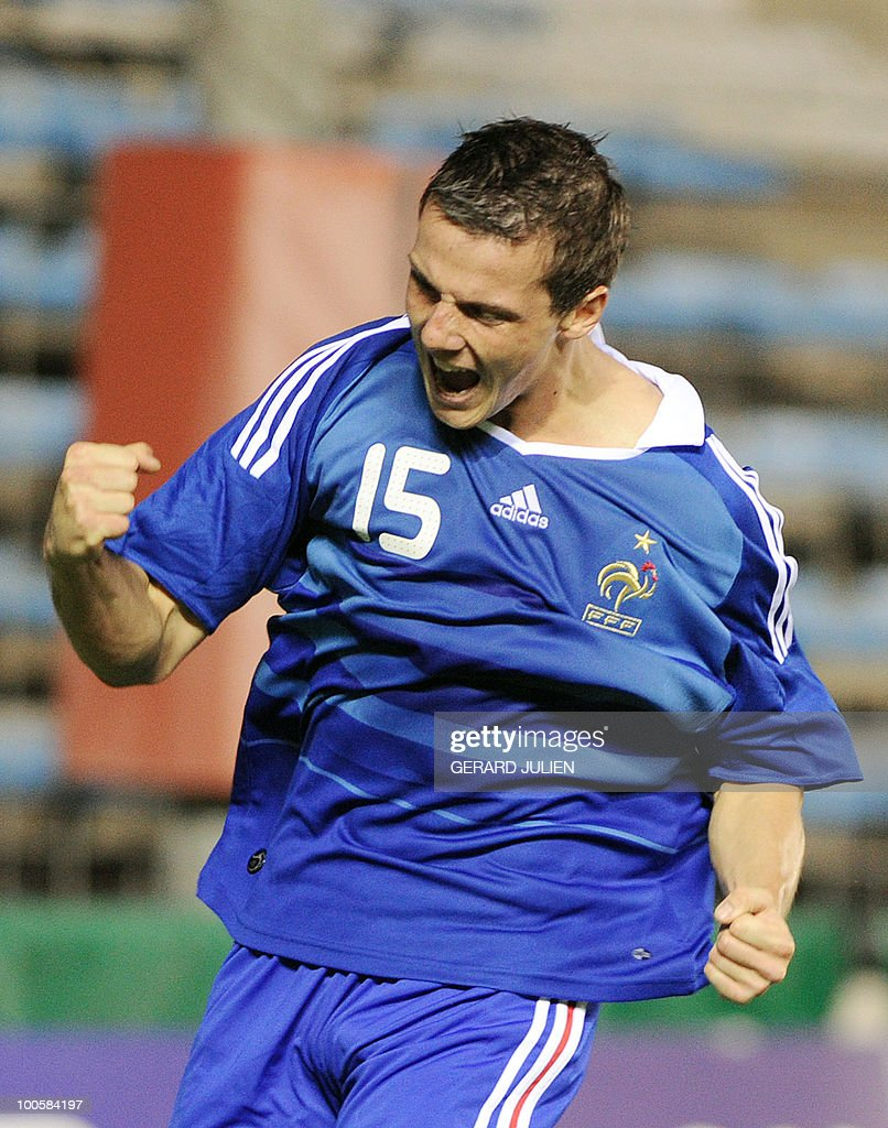 French Edouard Butin celebrates after scoring a goal during their Under 21 International Tournament football match France versus Denmark on May 25, 2010 at the Mayol stadium in Toulon, southern France. This is the 38th edition of the event.