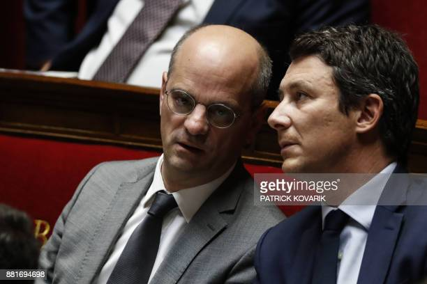 French Education Minister JeanMichel Blanquer and French Government's Spokesperson Benjamin Griveaux attend a session of questions to the government...