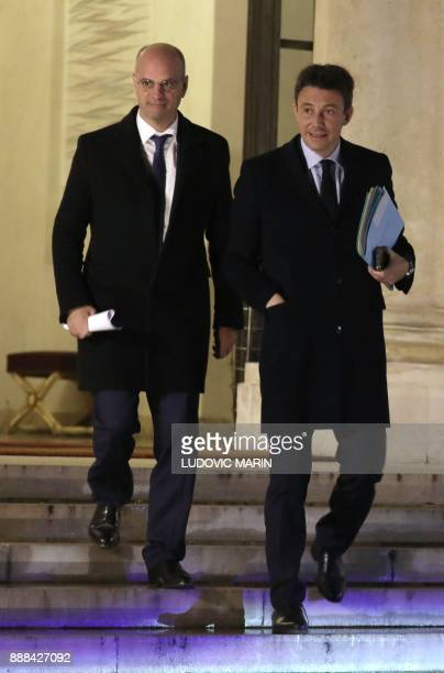 French Education Minister JeanMichel Blanquer and French Government's Spokesperson Benjamin Griveaux leave after the weekly Cabinet meeting on...
