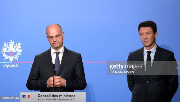 French Education Minister JeanMichel Blanquer and French Government's Spokesperson Benjamin Griveaux give a press conference after the weekly Cabinet...