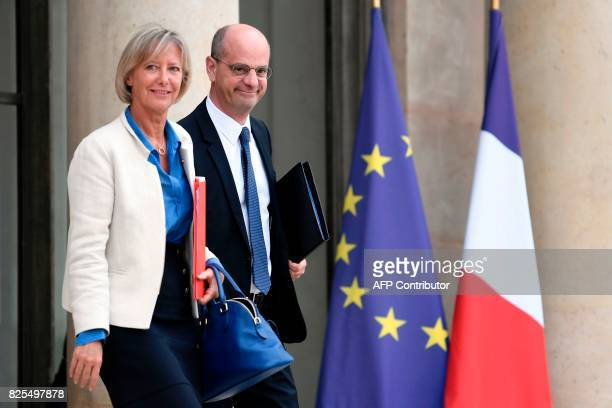 French Education Minister JeanMichel Blanquer and French Junior Minister in charge of Disabled People Sophie Cluzel leave the Elysee Palace in Paris...
