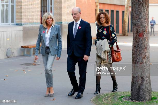 French Education Minister JeanMichel Blanquer Brigitte Macron the wife of the French president and FrenchMoroccan writer Leila Slimani speak as they...