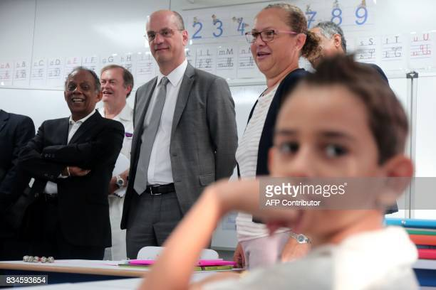 French Education Minister JeanMichel Blanquer visits the Michel Debre elementary school at the start of the new school year in SaintDenis de la...