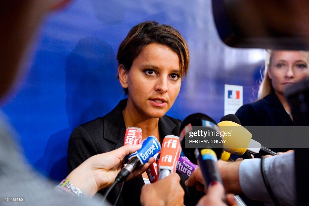 French Education minister Najat Vallaud-Belkacem answers journalists' questions after a press conference on the eve of the start of the new school year ('rentree scolaire'), on September 1, 2014 in Paris. AFP PHOTO / BERTRAND GUAY