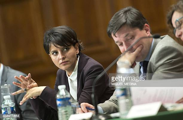 French Education Minister Najat VallaudBelkacem attends along with the French Justice minister a meeting with public prosecutors and chief education...