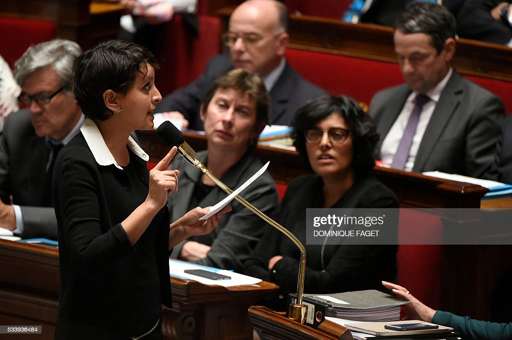 French Education minister Najat Vallaud-Belkacem delivers a speech during a session of Questions to the Government, on May 24, 2016 at the National Assembly in Paris.