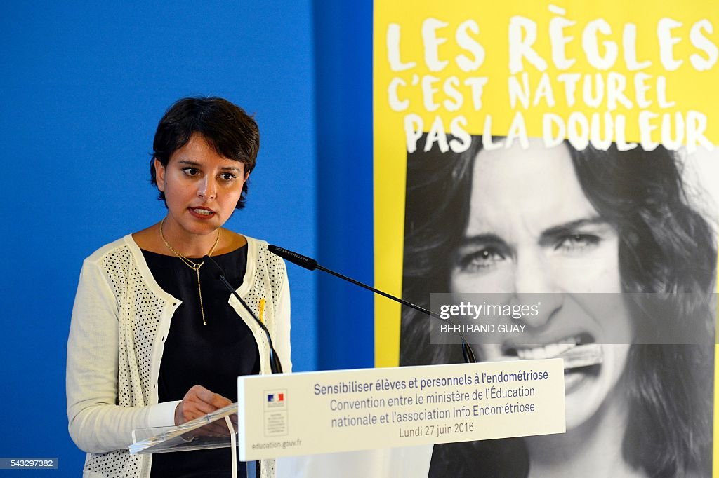 French Education minister Najat Vallaud-Belkacem delivers a speech during the first joint convention between the Ministry of National Education, Higher Education and Research and the Info Endometriosis association in Paris, on June 27, 2016. The endometriosis is a condition that can lead to difficulties in getting pregnant and even infertility. / AFP / BERTRAND