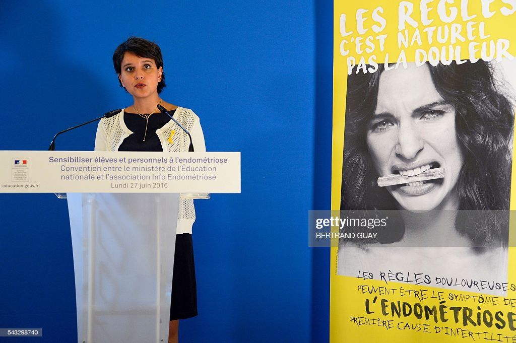 French Education minister Najat Vallaud-Belkacem delivers a speech during the first joint convention between the Ministry of National Education, Higher Education and Research and the Info Endometriosis association in Paris, on June 27, 2016. The gynaecological disease endometriosis, a condition in which cells that usually line the uterus grow in other areas, often on the ovaries and can lead to difficulties in getting pregnant and even infertility. / AFP / BERTRAND