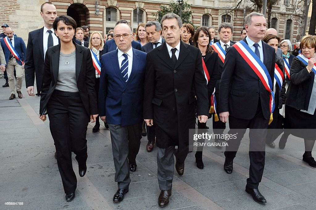 French Education Minister <a gi-track='captionPersonalityLinkClicked' href=/galleries/search?phrase=Najat+Vallaud-Belkacem&family=editorial&specificpeople=4115928 ng-click='$event.stopPropagation()'>Najat Vallaud-Belkacem</a>, French Interior Minister <a gi-track='captionPersonalityLinkClicked' href=/galleries/search?phrase=Bernard+Cazeneuve&family=editorial&specificpeople=4205153 ng-click='$event.stopPropagation()'>Bernard Cazeneuve</a>, former French President Nicolas Sarkozy and Toulouse mayor Jean-Luc Moudenc attend a commemoration ceremony for the victims of French jihadist gunman Mohamed Merah, in Toulouse on March 19, 2015. Merah shot dead three soldiers in southern France in 2012 before killing three students and a teacher at a Jewish school more than a week later.