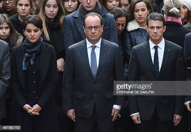 French Education Minister Najat VallaudBelkacem French President Francois Hollande and French Prime Minister Manuel Valls observe a minute of silence...