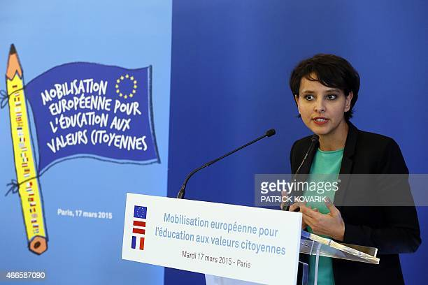 French Education Minister Najat VallaudBelkacem gives a press conference after a meeting of EU education ministers on the role of education in...
