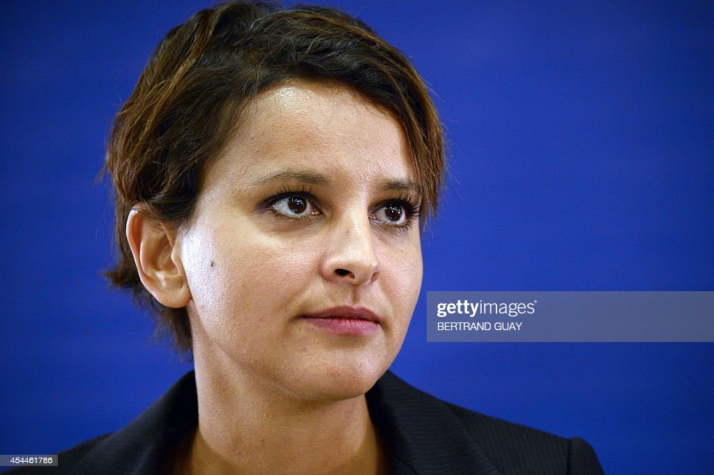French Education minister Najat Vallaud-Belkacem gives a press conference on the eve of the start of the new school year ('rentree scolaire'), on September 1, 2014 in Paris.