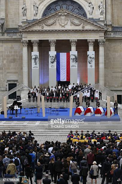 French Education minister Najat VallaudBelkacem gives a speech next to the coffins of four personalities French resistant Genevieve de...