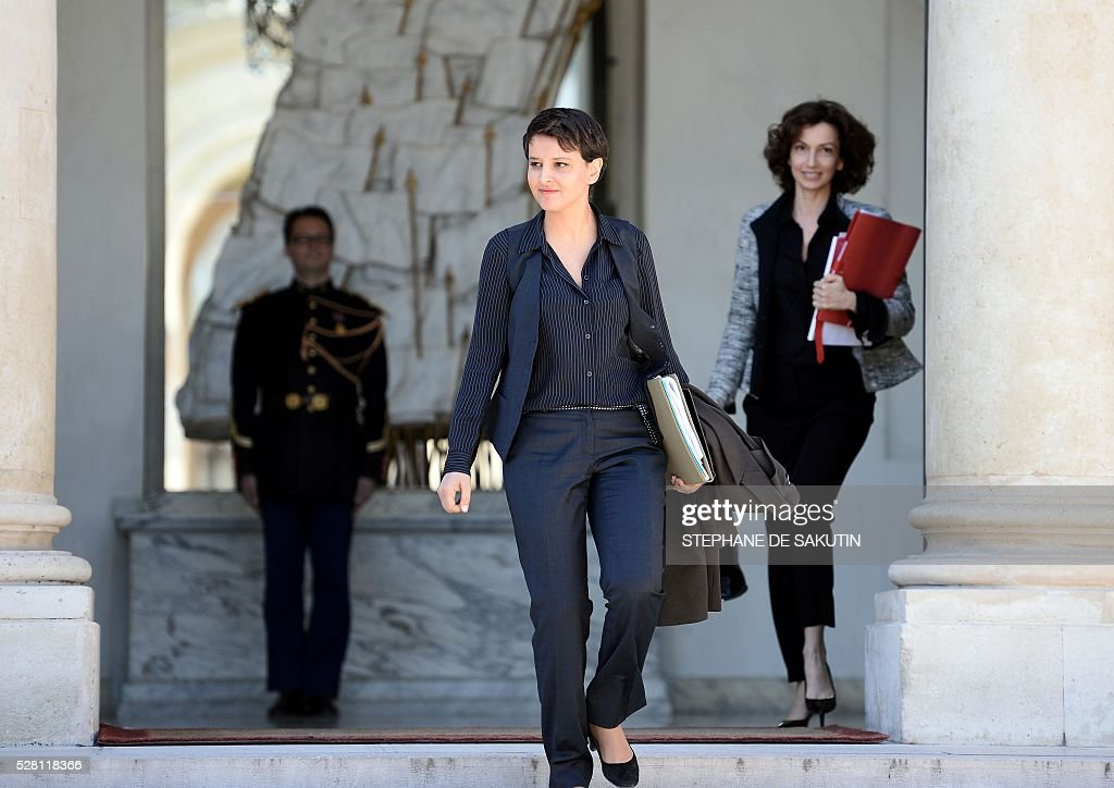 French Education minister Najat Vallaud-Belkacem leaves the Elysee presidential Palace after the weekly cabinet meeting in Paris on May 4, 2016.